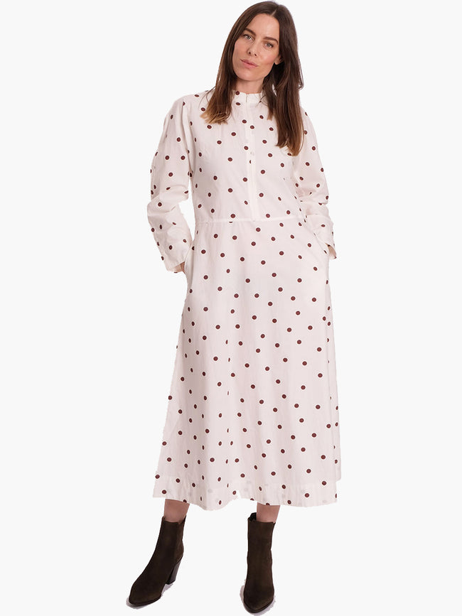 PRINTED COTTON POPLIN MIDI DRESS - EGRET
