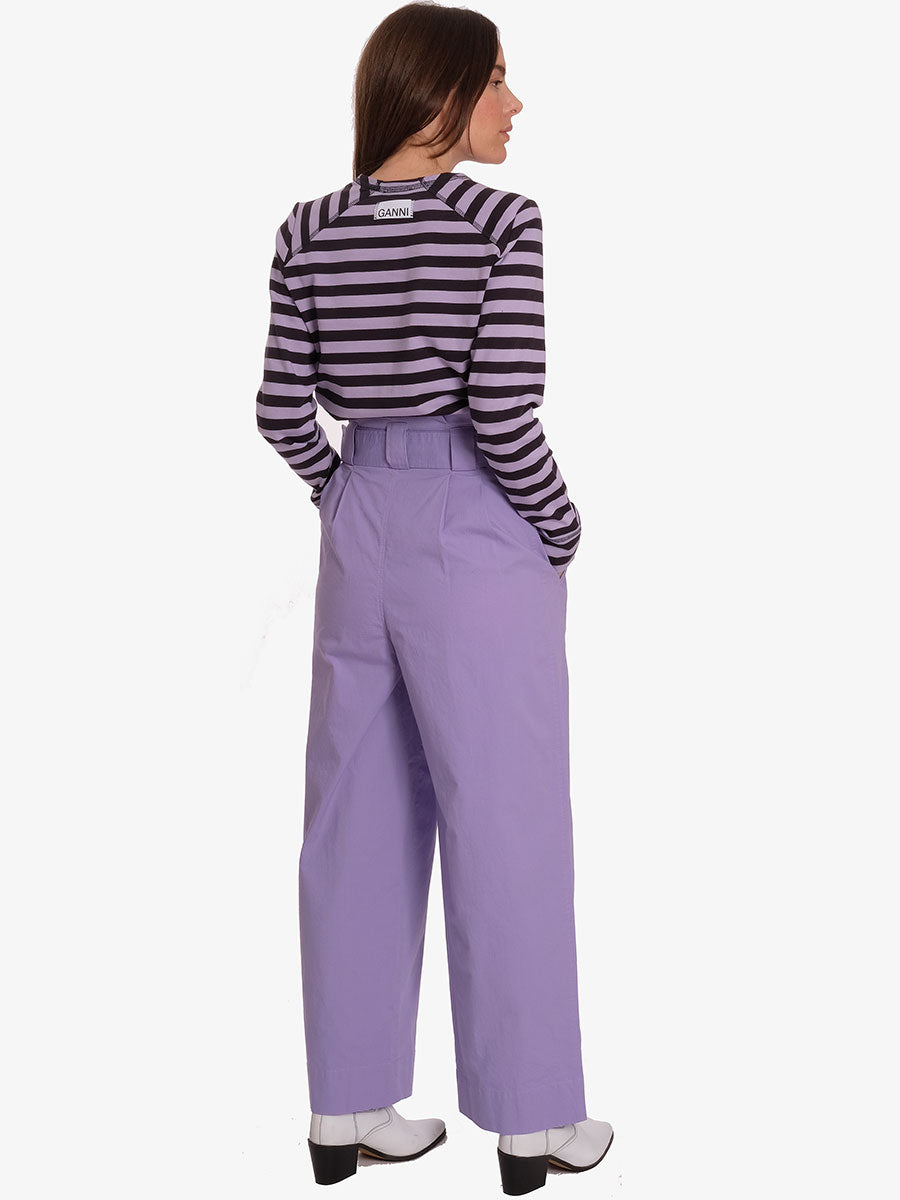 LONG SLEEVE STRIPE T-SHIRT - VIOLET TULIP