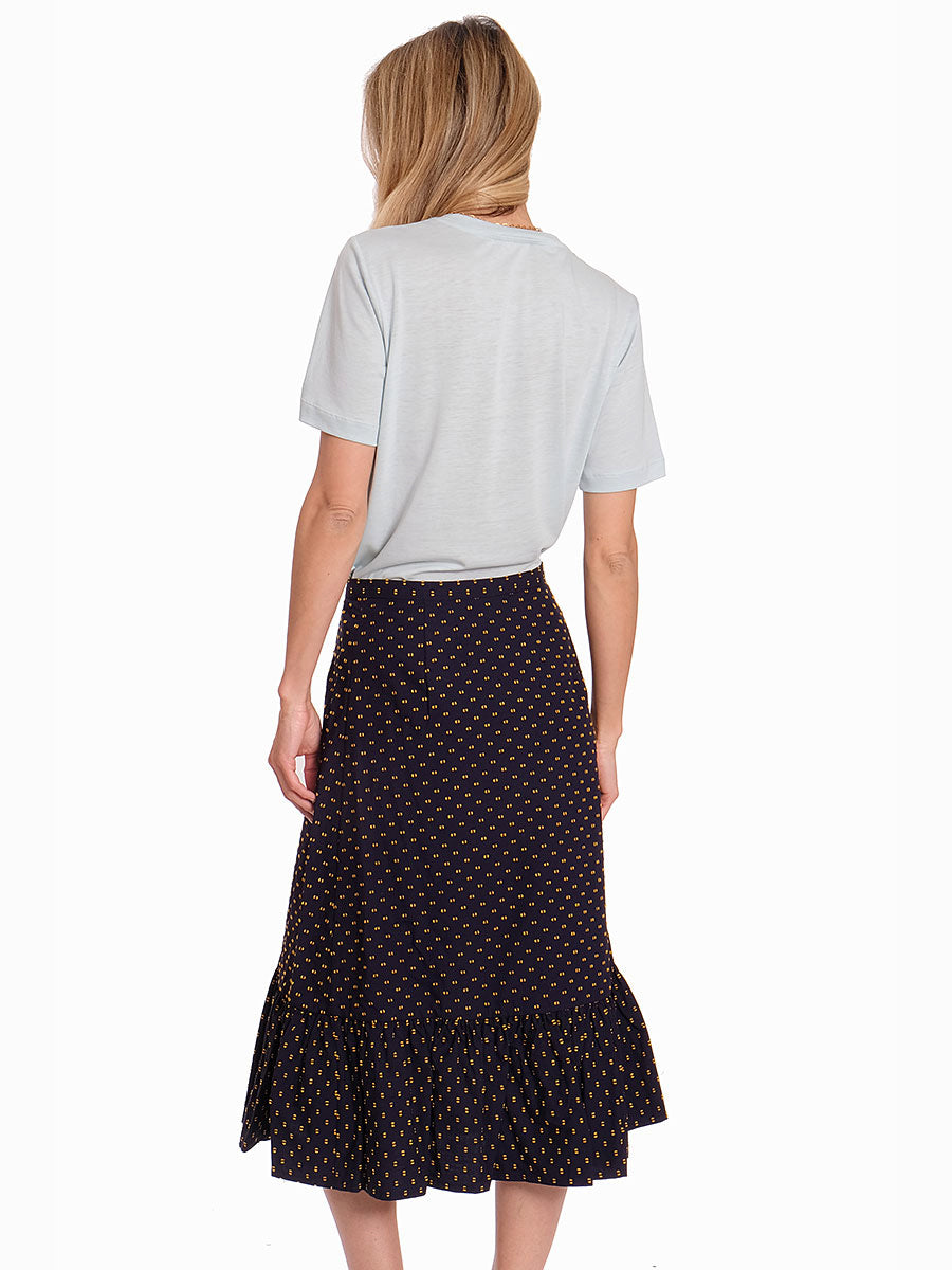 SHAKIRA NAVY SPOT WRAP SKIRT