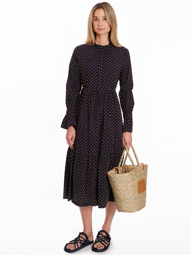 ALEXY NAVY SPOT COTTON DRESS