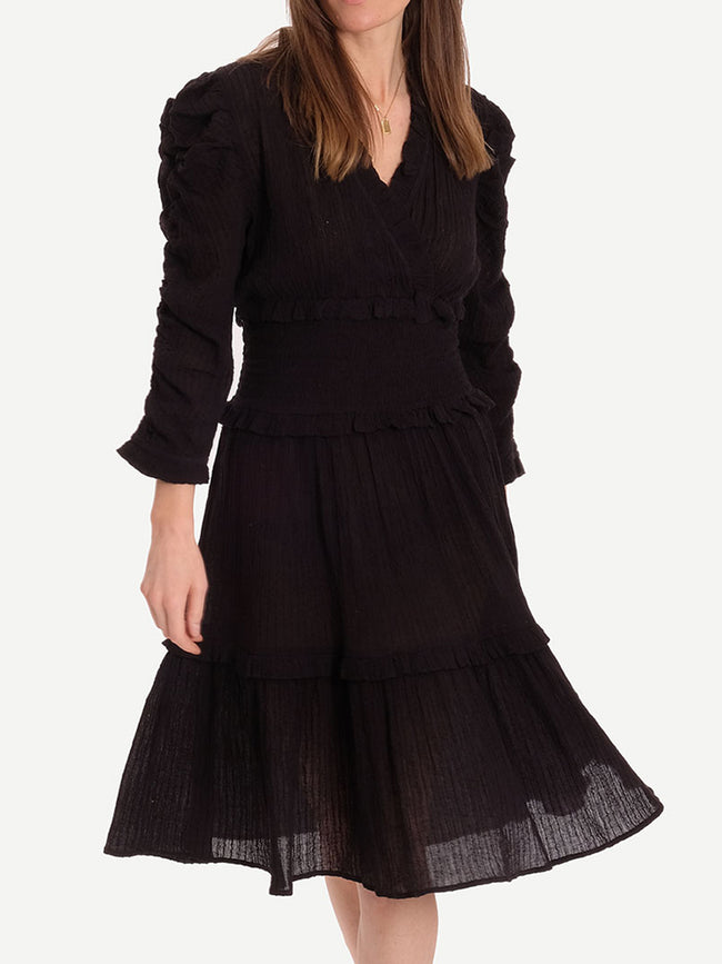 SAM SHIRRED RUFFLE DRESS - BLACK