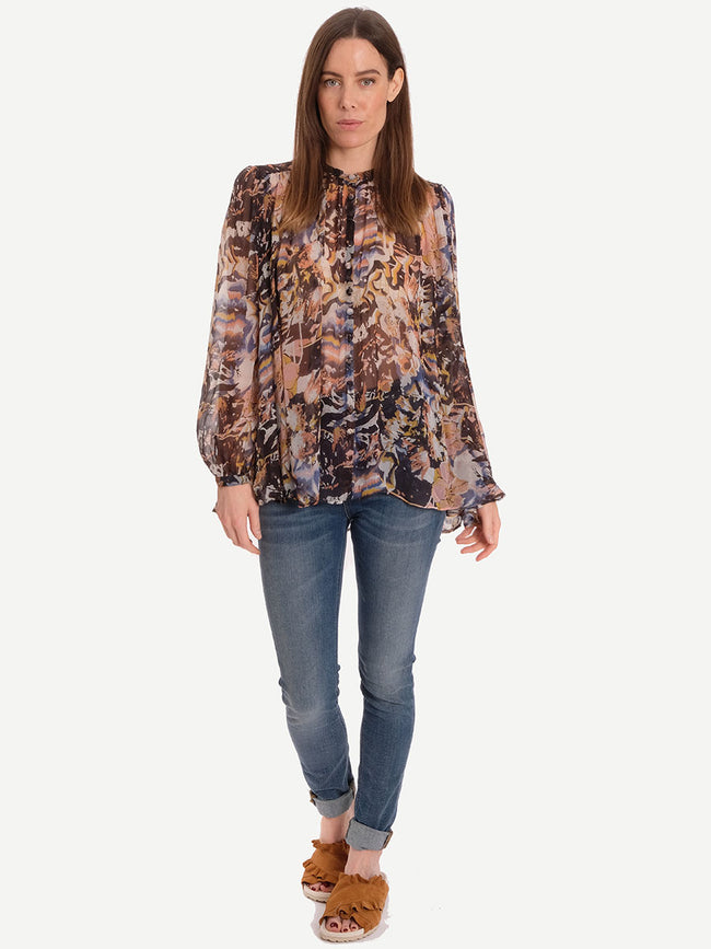 WHIM SHEER FLORAL BLOUSE - MULTI FLORAL