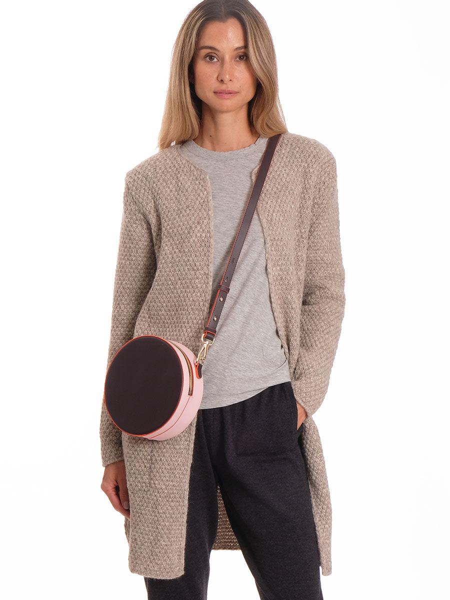 KAIA FUDGE & ROSE ROUND LEATHER BAG