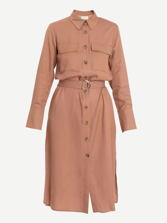 ISADORA UTILITY SHIRT DRESS - CAMEL