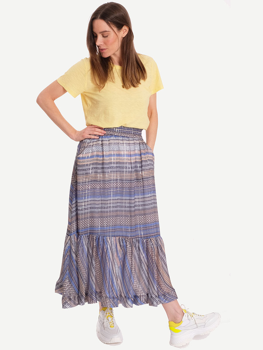 CIXOT GEOMETRIC PRINT SKIRT - CHAMBRAY BLUE
