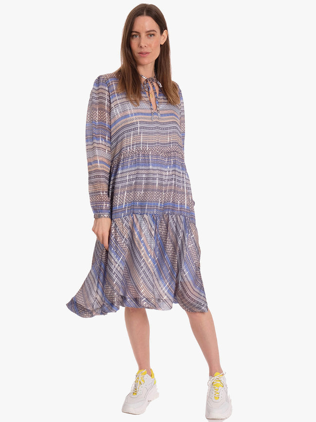 MILLAT GEOMETRIC PRINT DRESS - CHAMBRAY BLUE