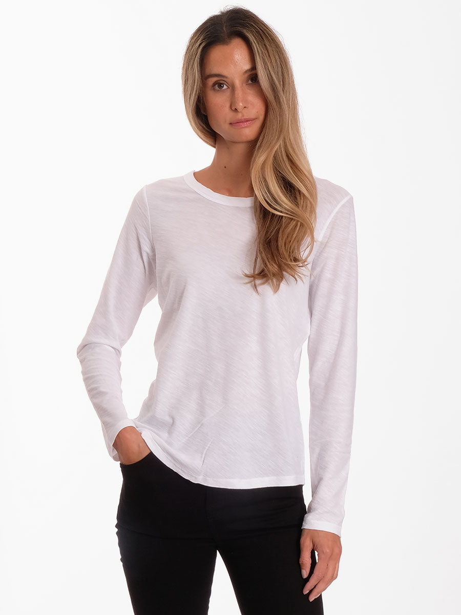 ANY3 LONG SLEEVE CREW NECK T - WHITE