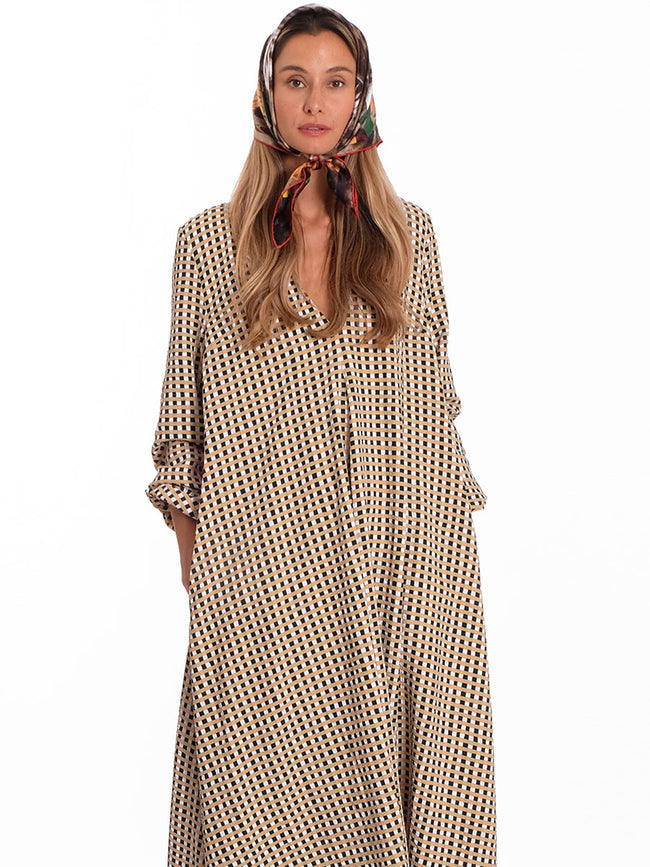 BROOKLYN OVERSIZED GINGHAM MAXI DRESS