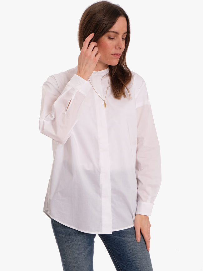 EDUN X COLLARLESS SHIRT - WHITE
