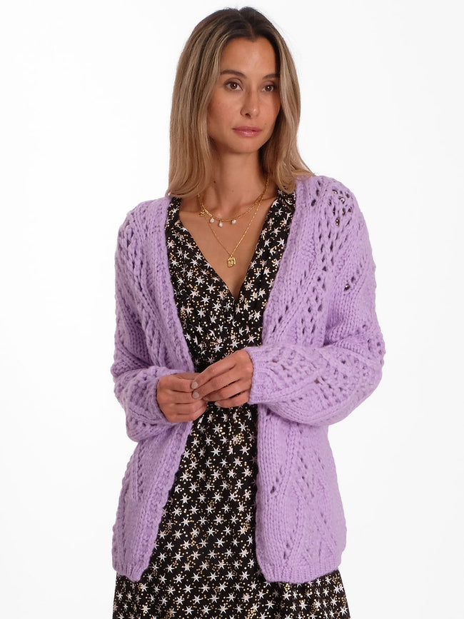 CENTO HAND KNIT CARDIGAN - LILAC