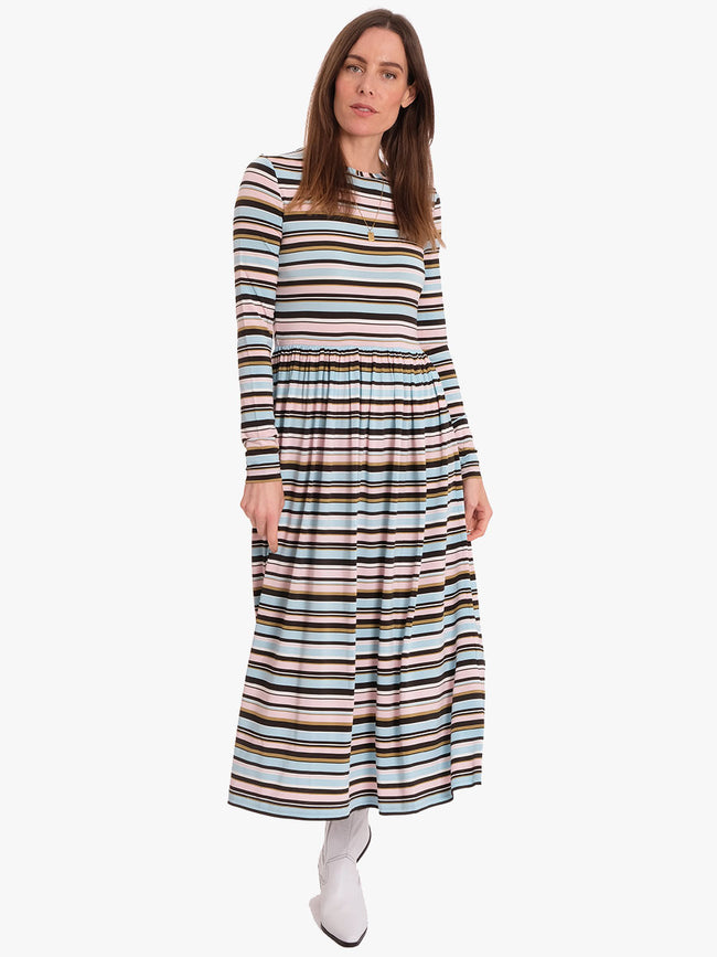 JOEL STRETCH JERSEY MIDI DRESS - STRIPES MULTI