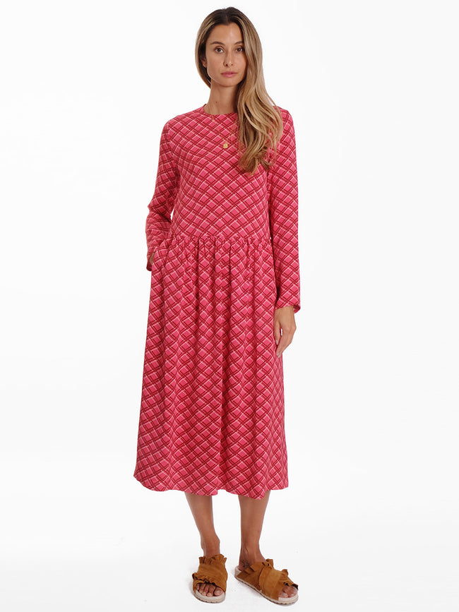 RAMA CHECK DRESS - BERRY