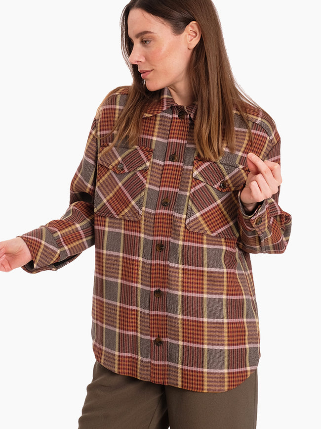 KORA CHECK OVERSHIRT - MISTY ROSE