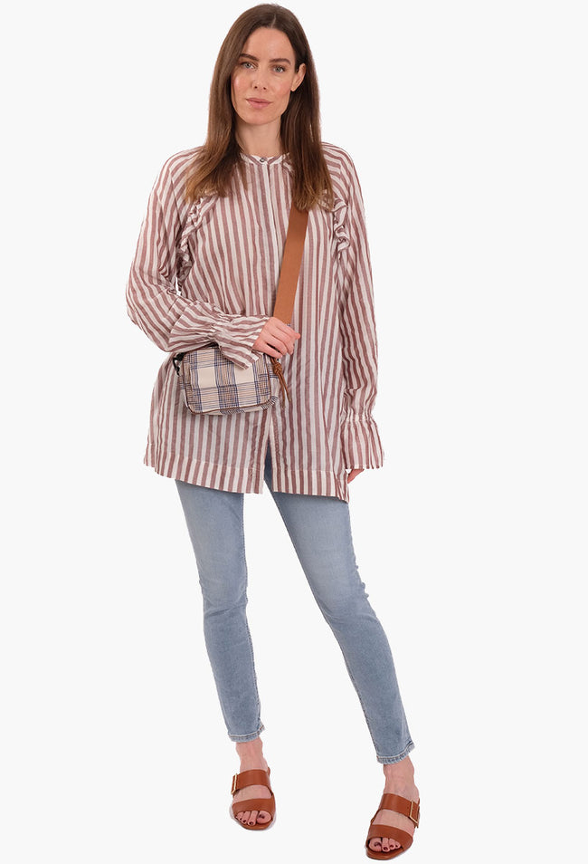 NEOLO LONG SLEEVE STRIPE TOP - OPTIC WHITE