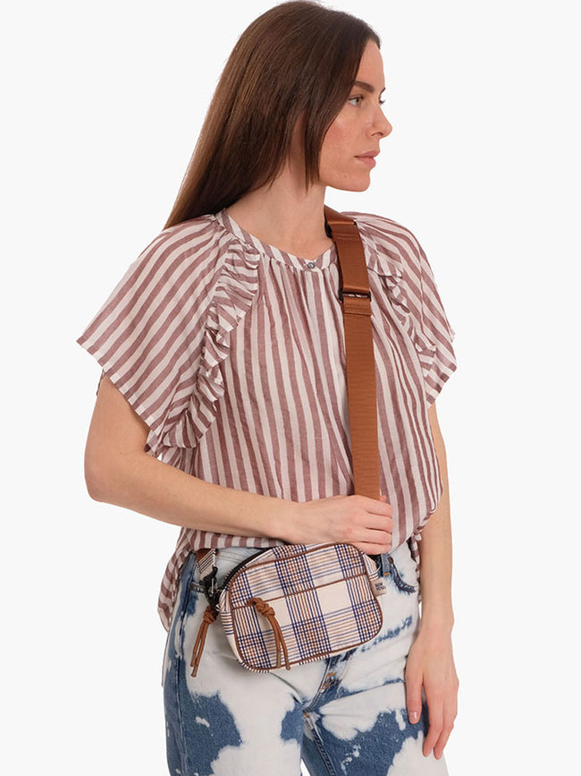SMITHA SHORT SLEEVE STRIPE TOP - OPTIC WHITE