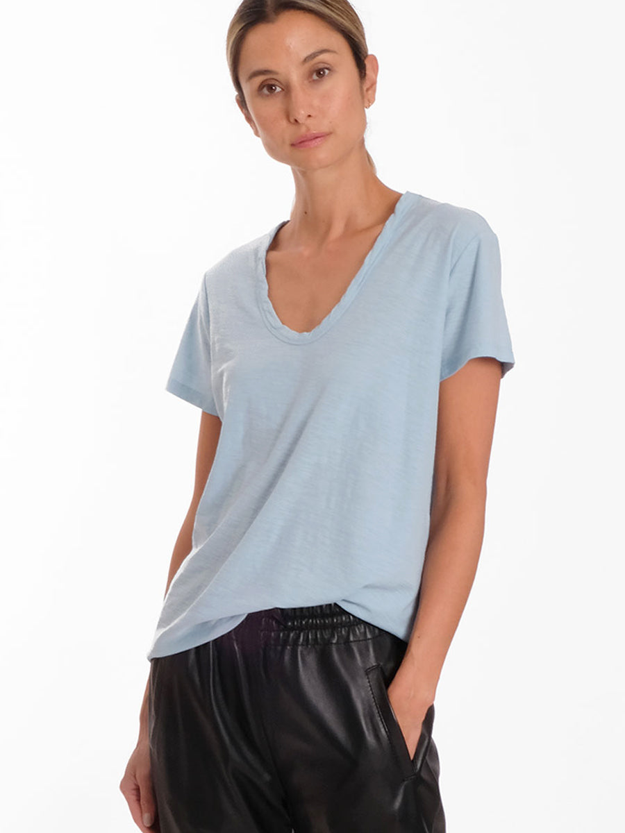 ANY2 SCOOP NECK TSHIRT - DUSKY BLUE
