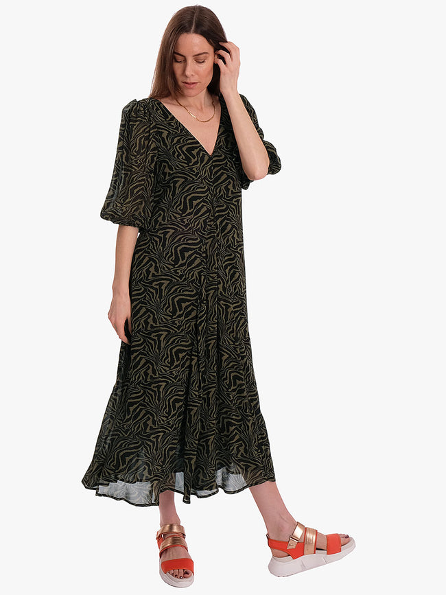 PRINTED GEORGETTE PUFF SLEEVE DRESS - KALAMATA