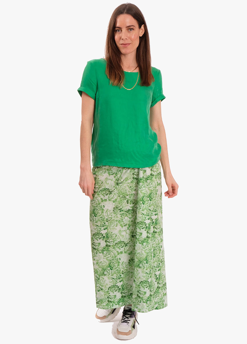 PRINTED COTTON POPLIN MAXI SKIRT - ISLAND GREEN