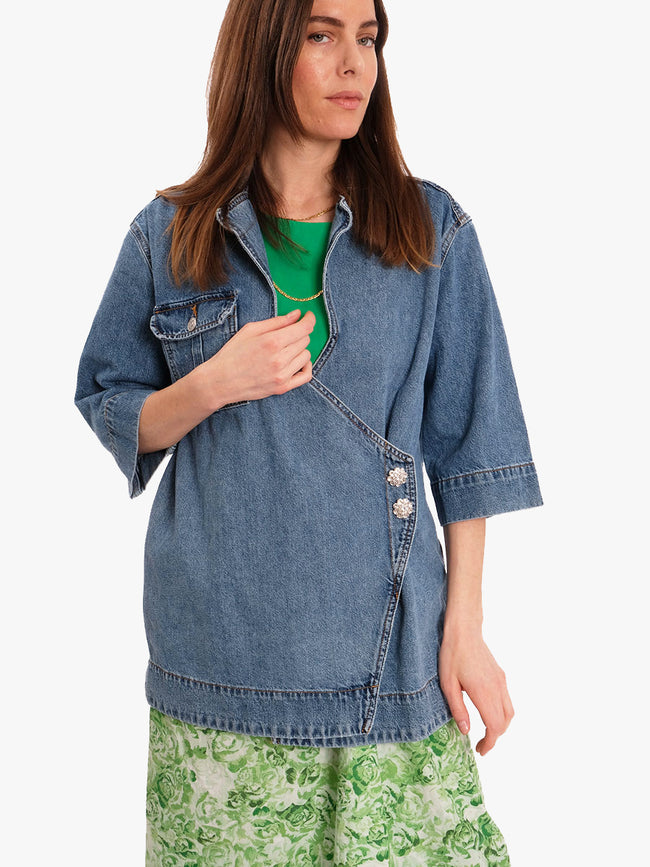 WASHED DENIM OVERSIZED SHIRT - WASHED INDIGO