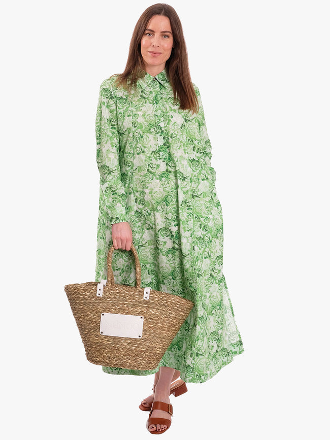 PRINTED COTTON POPLIN MAXI DRESS - ISLAND GREEN