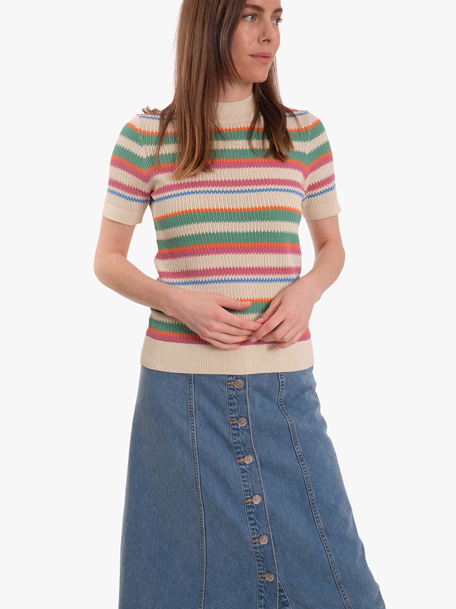 WASHED DENIM SKIRT - WASHED INDIGO