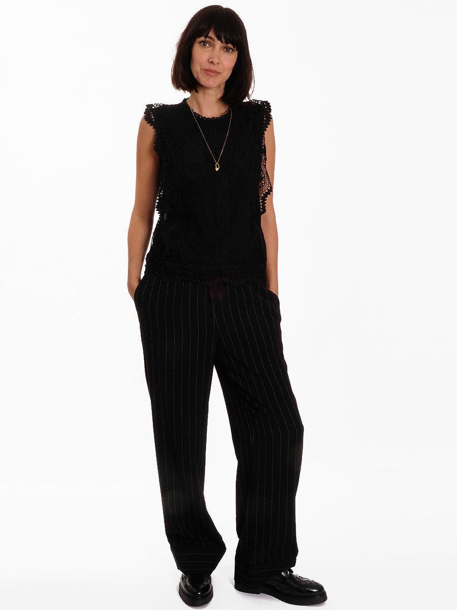 HEAVY CREPE PANTS - BLACK