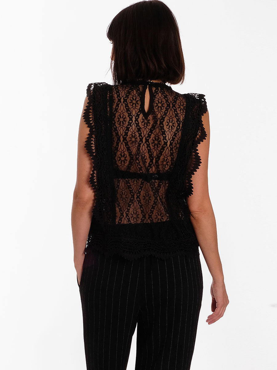 LULU LACE TOP - BLACK