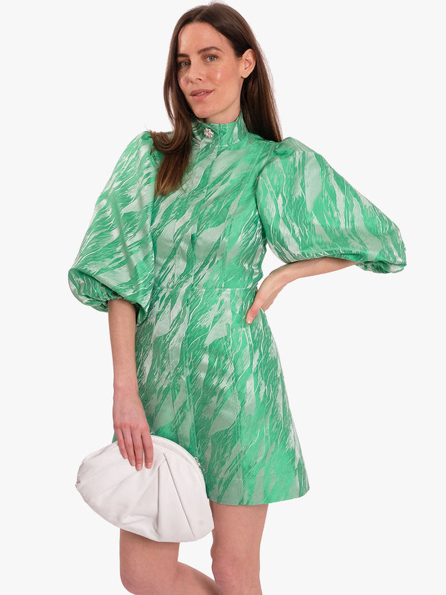 JACQUARD MINI DRESS - ISLAND GREEN
