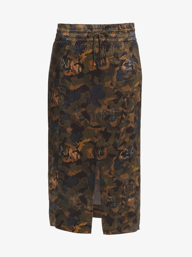 HEAVY SATIN SKIRT - CAMOUFLAGE