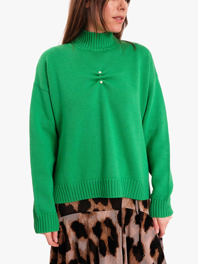 WOOL KNIT OVERSIZED JUMPER - ISLAND GREEN