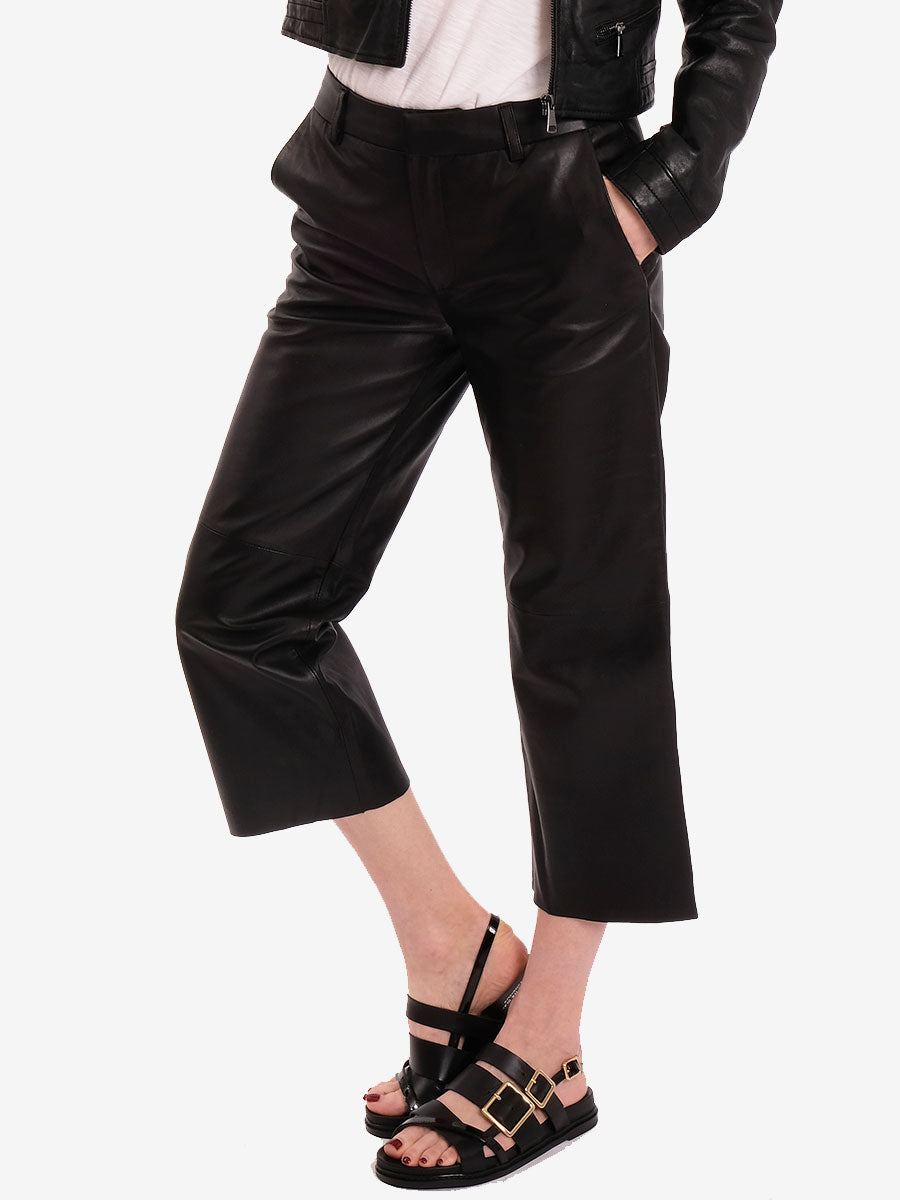 GLOBA LEATHER TROUSERS - BLACK