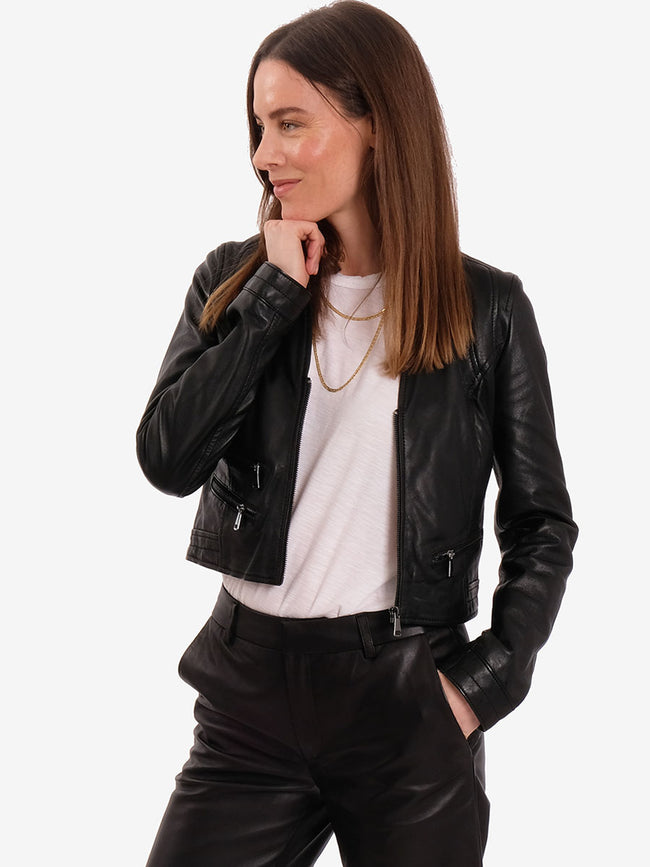 RACHEL LEATHER JACKET - BLACK