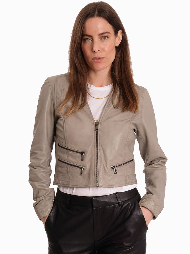 RACHEL LEATHER JACKET - GREY