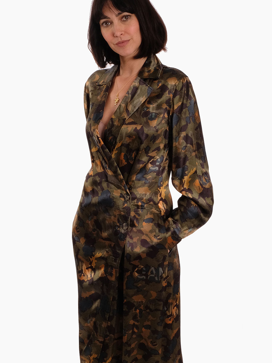 HEAVY SATIN DRESS COAT - CAMOUFLAGE