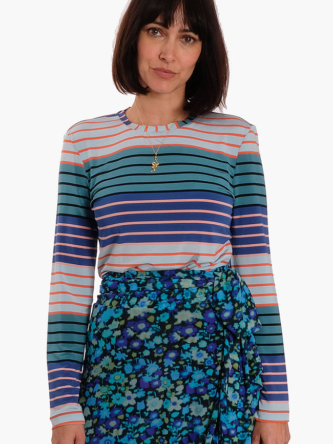 MAYA MULTI STRIPE JERSEY TOP