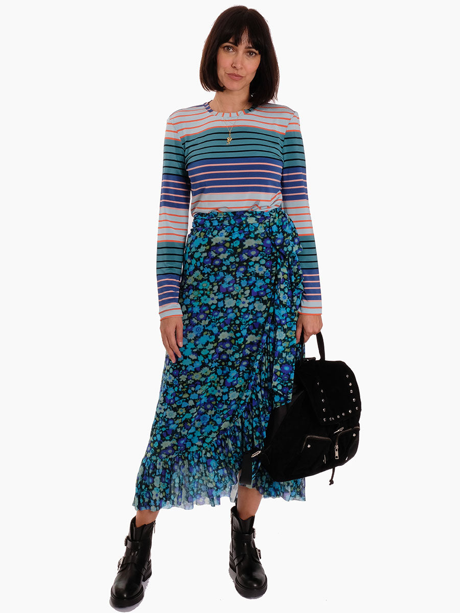 PRINTED MESH WRAP SKIRT