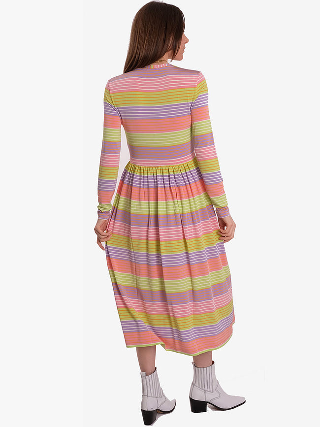 JOEL STRETCH JERSEY MIDI DRESS - STRIPES