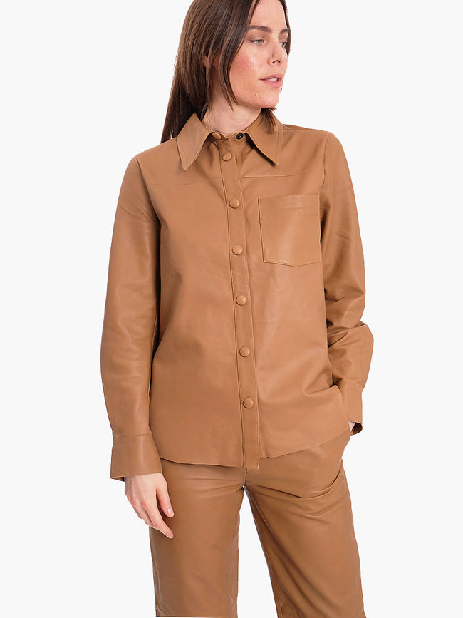 GLOBA LEATHER SHIRT - CARAMEL NUT