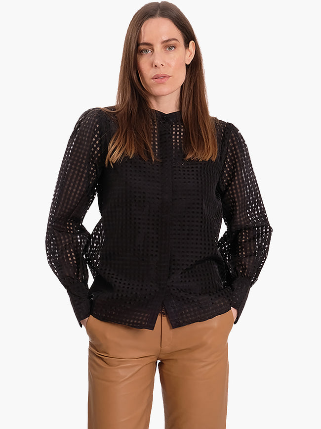 IBEN COLLARLESS SHIRT - BLACK
