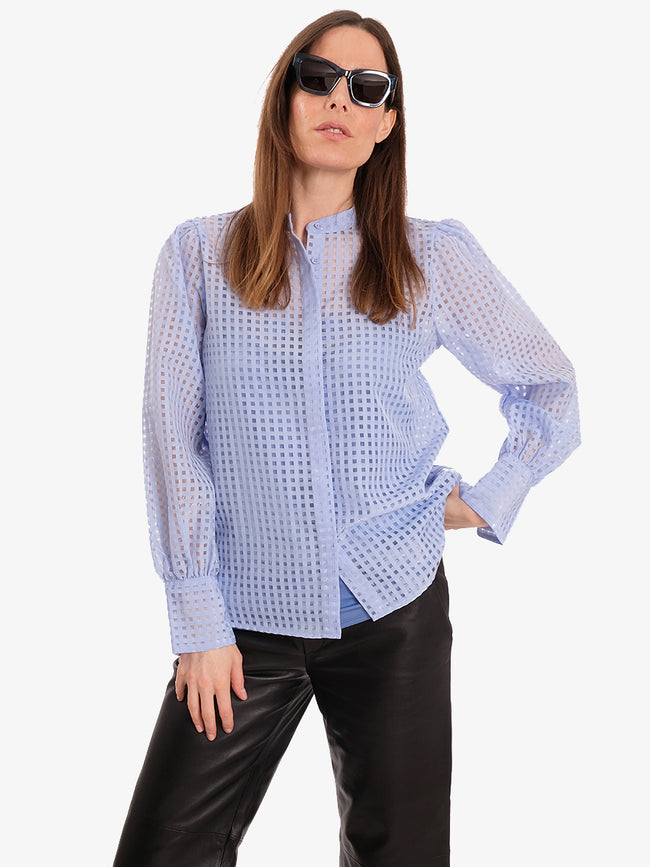 IBEN COLLARLESS SHIRT - CHAMBRAY BLUE