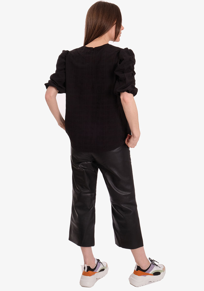 LOWA PUFF SLEEVE BLOUSE - BLACK
