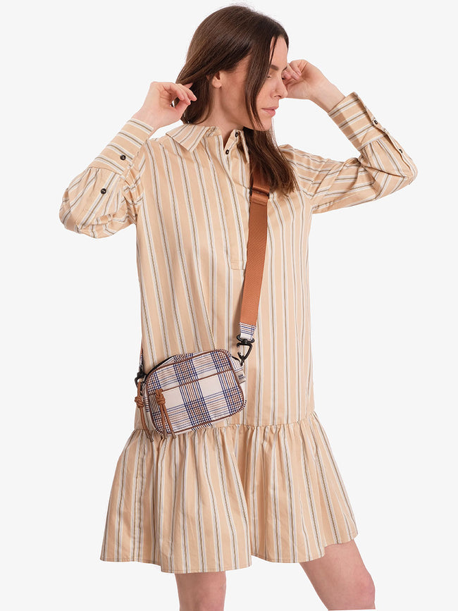 KENLEY BAG - CREAM NAVY BROWN CHECKS