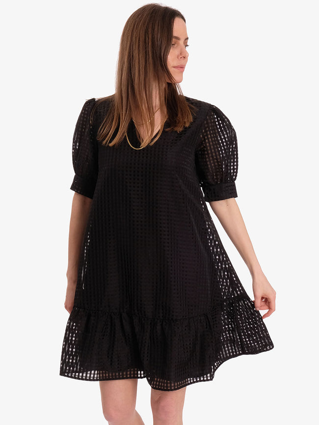 IBEN PUFF SLEEVE DRESS - BLACK