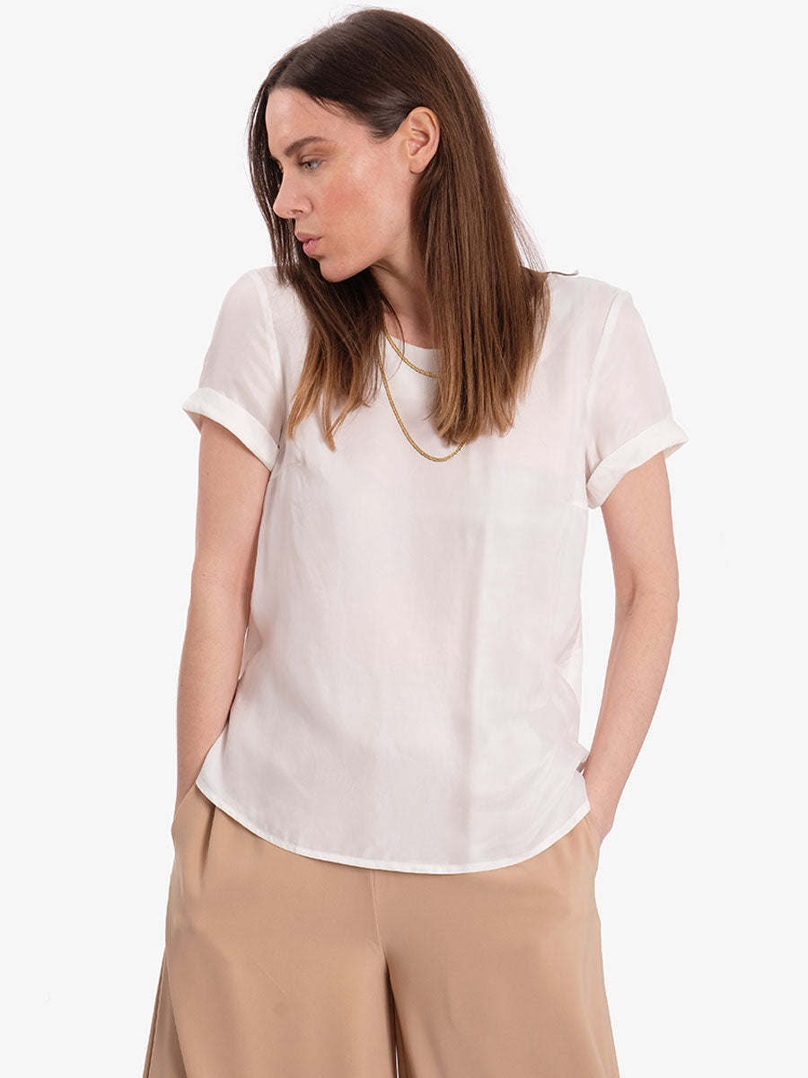 LOLLY SHORT SLEEVE TOP - OFF WHITE
