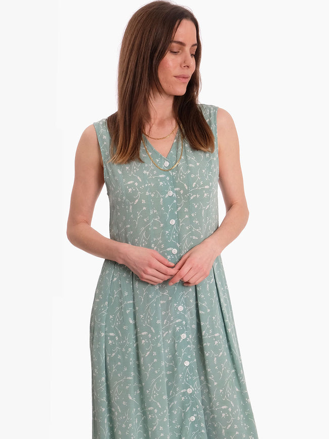 CINDA SLEEVELESS DRESS - FEUILLES MENTHE