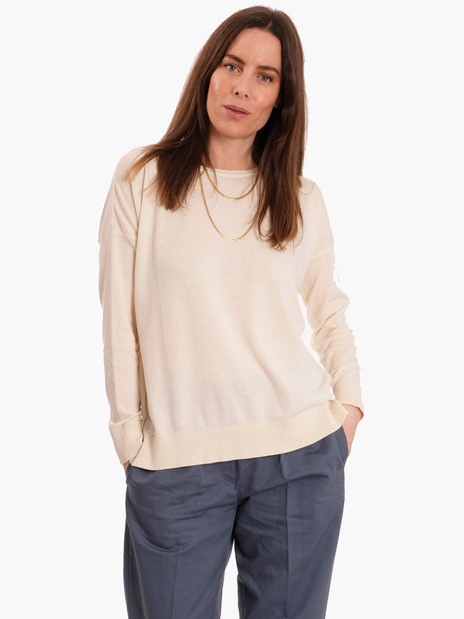 JULIA FINE KNIT JUMPER - OFF-WHITE