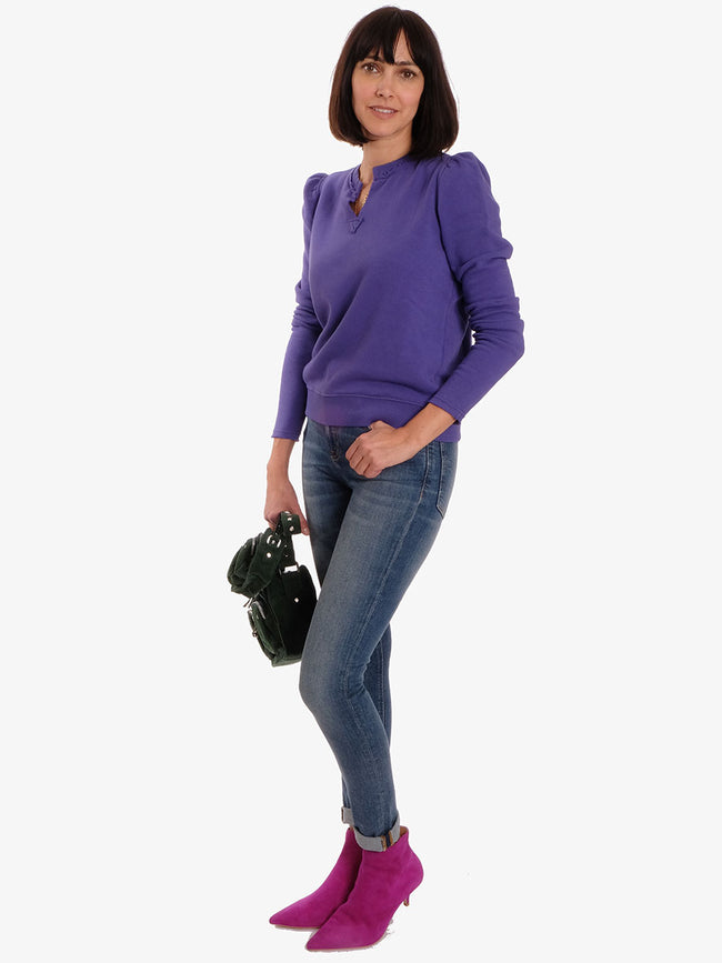 AIKO SWEATSHIRT VELVET - Purple