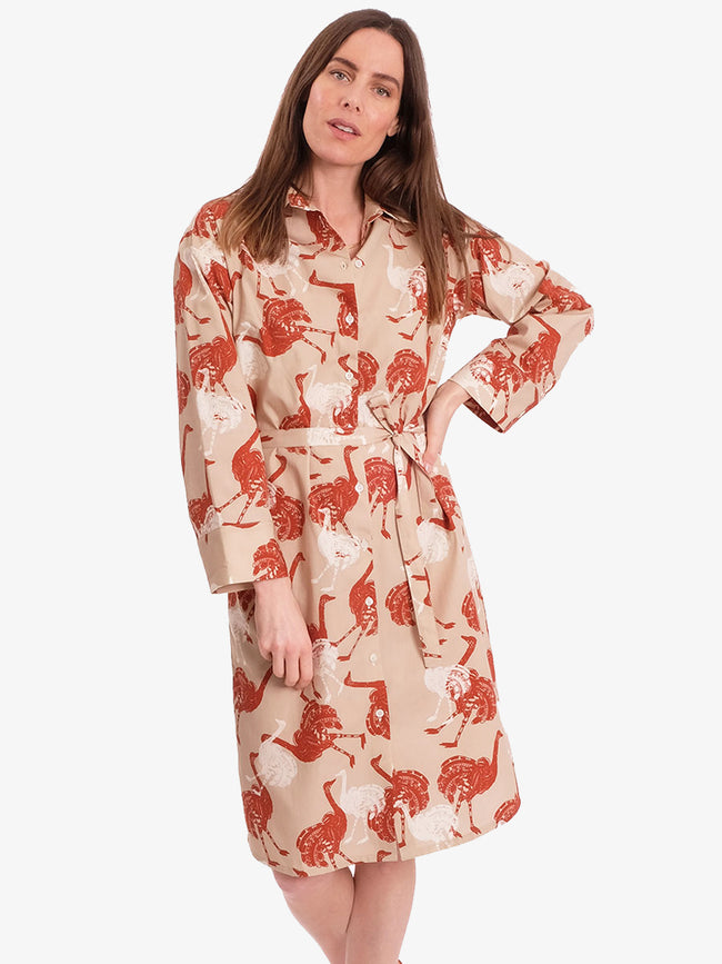 CILIA OSTRICH SHIRT DRESS - BEIGE