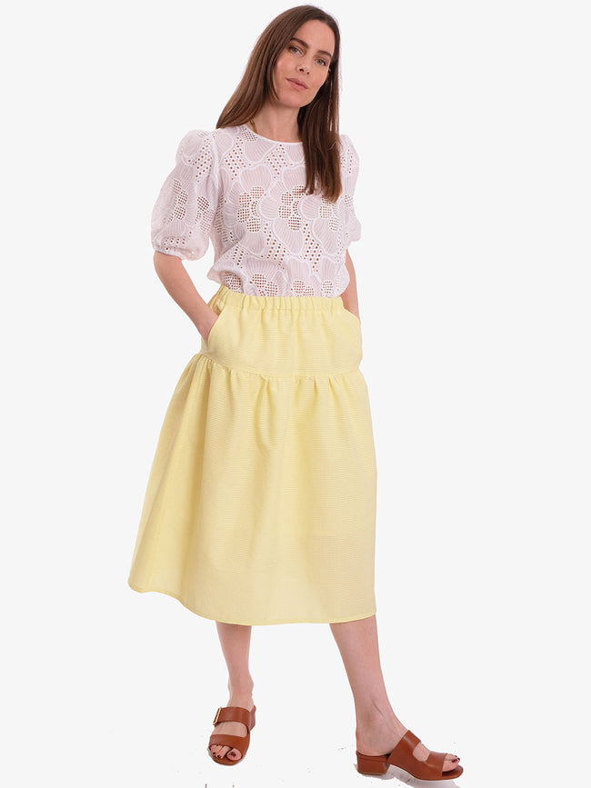 SOFIE 3D CHECK SKIRT - YELLOW