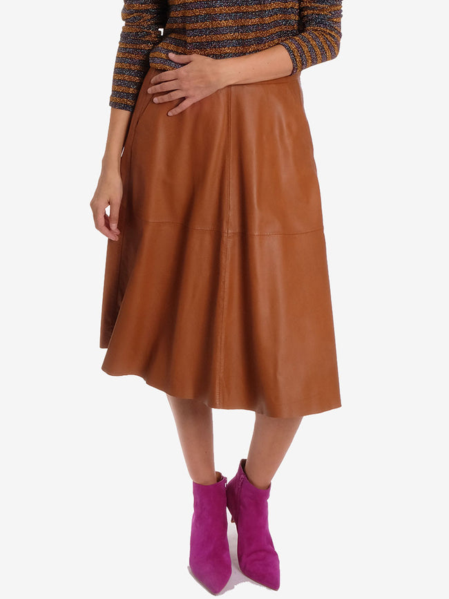 BEAUTY LEATHER SKIRT BRICK